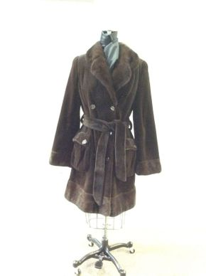 Lot 038 Brown Sheared Mink w/Long Hair Cuffs/Collar Belt and Button Pockets Sleeve 31in Sweep 56in Style 3192