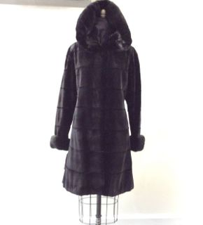 Lot 042 Black Sheared Mink Wide Horizontal w/Long Hair Cuffs/Collar Reversible Size 14 Length 38in Sleeve 31in Sweep 70in Style 3439