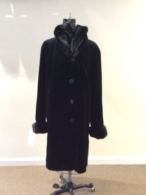 Lot 048 Black Sheared Mink w/ Long Hair Cuffs/Collar Reversible Size 16 Length 38in Sleeve 31in Sweep 64in Style 3232