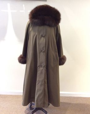 Lot 050 Lodin Green w/ Nutria Fox Trim Hood and Cuffs Size 12 Length 47in Sleeve 28in Sweep 75in Removeable Fur Liner Vest Style Rebecca
