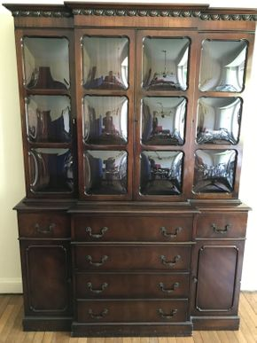 Lot 122 China Cabinet with 2 Doors and 6 Drawers ITEM CAN BE PICKED UP IN WEST HEMPSTEAD