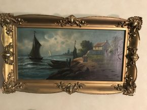 Lot 036 Antique Oil Painting on Canvas Signed  ITEM CAN BE PICKED UP IN VALLEY STREAM