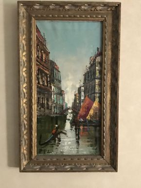Lot 037 Mid Century Venetian Scene Oil on Canvas ITEM CAN BE PICKED UP IN VALLEY STREAM