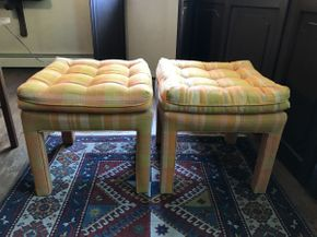 Lot 041 Lot of 2 Upholstered Backless Chairs   ITEM CAN BE PICKED UP IN VALLEY STREAM