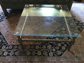 Lot 044 Brass Faux Bamboo Glass Coffee Table ITEM CAN BE PICKED UP IN VALLEY STREAM