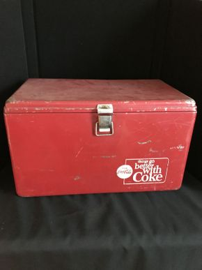 Lot 048 Coca Cola Cooler with Tray ITEM CAN BE PICKED UP IN GARDEN CITY