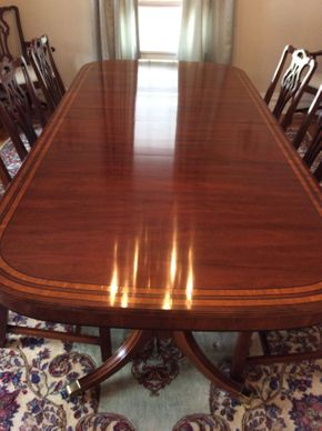 Lot 047 Statton Dining Room Table With 3 Leaves (18in ea and extends to 120 in ) and Pads  Approx 65L x 30H x 46W  ITEMS CAN BE PICKED UP IN GARDEN CITY