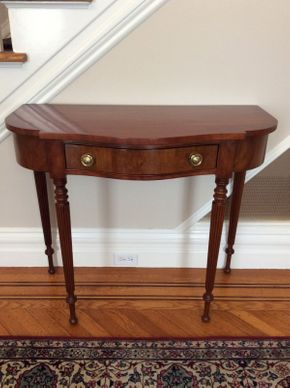 Lot 052 Statton Mahogany Demilune Table Approx 39.5H x 35L x 16D  ITEMS CAN BE PICKED UP IN GARDEN CITY