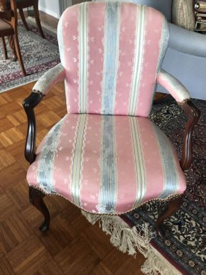 Lot 062 Upholstered Queen Anne Mahogany Chair ITEM CAN BE PICKED UP IN GARDEN CITY