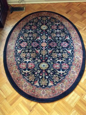 Lot 065 Oval Manmade Rug 63 x 47  ITEMS CAN BE PICKED UP IN GARDEN CITY