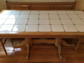 Lot 043 Ceramic tile kitchen table Approx 76.5 x 36.5d x 30h  ITEMS CAN BE PICKED UP IN GARDEN CITY