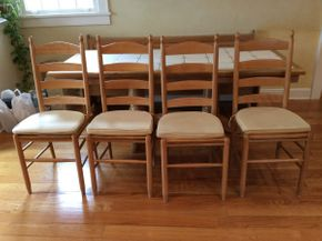 Lot 045 Lot Of 6  Kitchen Table Chairs With Cushions Some Stained Approx 41 Inches Tall  ITEMS CAN BE PICKED UP IN GARDEN CITY