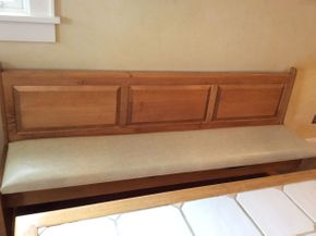 Lot 044 Wooden Bench with Leather Cushion and Storage Approx 75l x 20d x 35.5h  ITEMS CAN BE PICKED UP IN GARDEN CITY