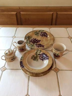 Lot 092 Lot Of Everyday Dishes 16 Dinner Plates 14 Dessert Plates 12 Bowls 17 Mugs Creamer and Sugar 1 Platter ITEMS CAN BE PICKED UP IN GARDEN CITY