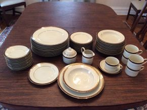 Lot 068 Lot Of Mikasa China 12 Cups Creamer  and Sugar 12 Saucers 12 Dinner Plates 11 Salad Plates 1chipped 12 Bowls 1 Chipped  ITEMS CAN BE PICKED UP IN GARDEN CITY