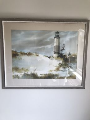 Lot 067 Watercolor Seascape by Local Artist Marion B. Brown  ITEM CAN BE PICKED UP IN GARDEN CITY