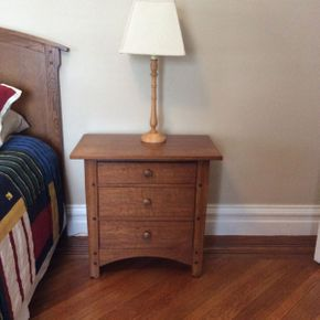 Lot 083 Thomasville Oak 3 Drawer Side Table 26.5H x 28W x   ITEMS TO BE PICKED UP IN GARDEN CITY