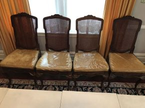 Lot 001 Lot of 4 Dining Room Side Chairs with Caned Back ITEM CAN BE PICKED UP IN GARDEN CITY