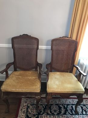 Lot 002 Lot of 2 Dining Room Arm Chairs with Caned Back ITEM CAN BE PICKED UP IN GARDEN CITY
