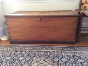 Lot 005 Antique Detailed Pine Trunk, Water Damage, 17.5hx18dx40.5w ITEMS TO BE PICKED UP IN WEST HEMPSTEAD