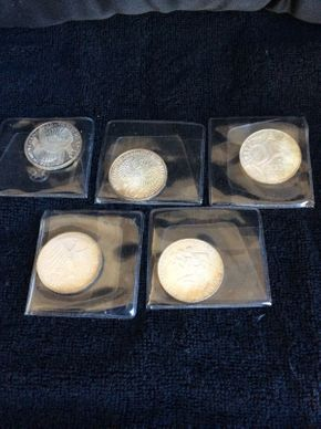 Lot 014 Lot of 5 German 1972 Silver Olympic Coins ITEMS TO BE PICKED UP IN WEST HEMPSTEAD