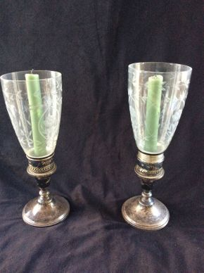Lot 016 Pair of Sterling and Glass Hurricanes 11.5in Tall ITEMS TO BE PICKED UP IN WEST HEMPSTEAD