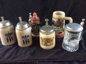 Lot 028 Lot of 6 Beer Steins, Global, Rieber, Hoffbrau ITEMS TO BE PICKED UP IN WEST HEMPSTEAD