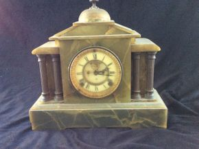 Lot 029 Ansonia Onyx Mantle Clock Chipped AS IS ITEMS TO BE PICKED UP IN WEST HEMPSTEAD