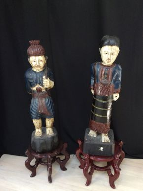 Lot 065 Indo Chinese Wood Carvings 30.5in Tall ITEMS TO BE PICKED UP IN MANHASSET HILLS