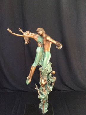 Lot 066 Large Decorative Bronze Dancers , No Signature Found 34in Tall ITEMS TO BE PICKED UP IN MANHASSET HILLS