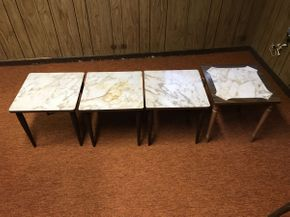 Lot 016 Lot of 4 mid century Tables ITEM CAN BE PICKED UP IN GARDEN CITY