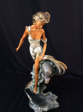 Lot 070 Signed Basso Bronze Sculpture of Woman and Dolphin 25in Tall  ITEMS TO BE PICKED UP IN MANHASSET HILLS
