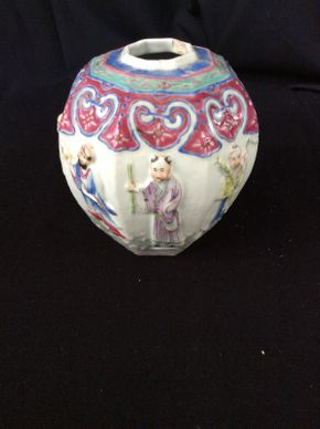 Lot 077 Antique Chinese Chopped Ginger Jar 7.5in Tall  ITEMS TO BE PICKED UP IN MANHASSET HILLS