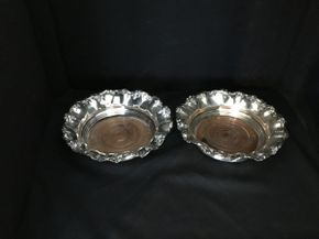 Lot 007 Lot of 2 Sterling Silver Wine Coasters  ITEM CAN BE PICKED UP IN FOREST HILLS