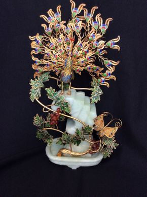 Lot 072 Chinese Enamal and Metal Peacock Sculpture 13.5in Tall  ITEMS TO BE PICKED UP IN MANHASSET HILLS