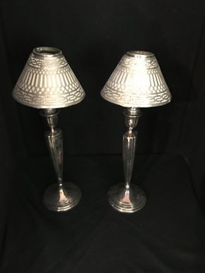 Lot 010 Pair of Sterling Silver Shades with Candle Holders ITEM CAN BE PICKED UP IN FOREST HILLS