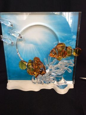 Lot 082 Swarovski Crystal Wonders of the Sea Clown Fish 8in Tall  ITEMS TO BE PICKED UP IN MANHASSET HILLS
