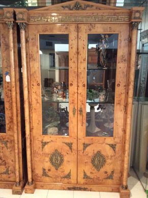 Lot 117 Italian Olive Burl Cabinet with Glass Doors and Key 8.11x4ftwx22d  ITEMS TO BE PICKED UP IN MANHASSET HILLS