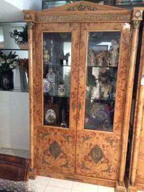 Lot 118 Italian Olive Burl Cabinet with Glass Doors and Key 8.11x4ftwx22d  ITEMS TO BE PICKED UP IN MANHASSET HILLS