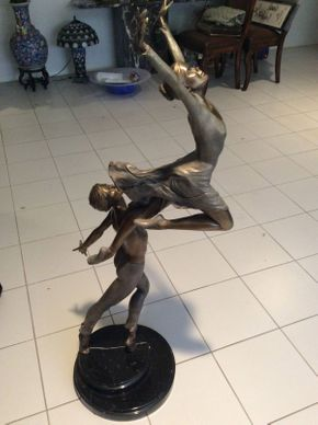 Lot 114 Signed Large Bronze Dancers 47in Tall  ITEMS TO BE PICKED UP IN MANHASSET HILLS