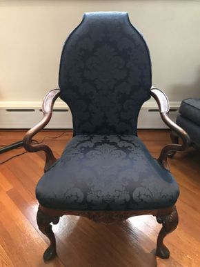 Lot 022 Upholstered Navy Queen Anne Chair  ITEM CAN BE PICKED UP IN FOREST HILLS