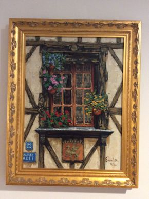 Lot 122 Shvaiko Giclee on Canvas Windows of France 19x15.5  ITEMS TO BE PICKED UP IN MANHASSET HILLS