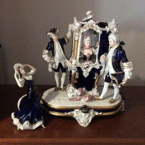 Lot 111 Lot of 2 Royal Dux Figural Group (1) 14.5in Tall (1) 8 3/4in Tall  ITEMS TO BE PICKED UP IN MANHASSET HILLS