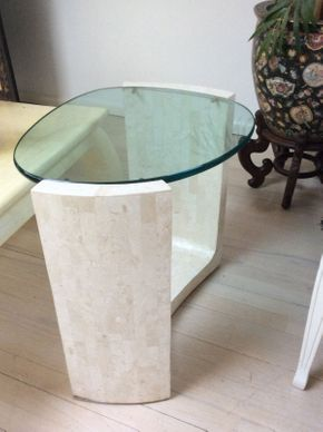 Lot 146 Tessalated Stone Round Table with Glass Top 24in high x 22in wide  ITEMS TO BE PICKED UP IN MANHASSET HILLS