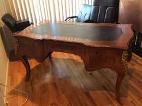 Lot 109 Antique Cast Metal Mounted Desk Top Leather Peeling AS IS 64lx34wx34d  ITEMS TO BE PICKED UP IN MANHASSET HILLS