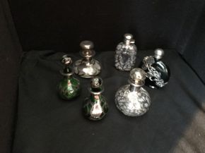 Lot 031 Lot of 6 Sterling Silver Overlay Perfume Bottles  ITEM CAN BE PICKED UP IN FOREST HILLS