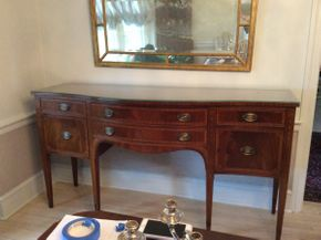Lot 001 Mahogany Inlaid Server With custom Glass Top 71x22x38.5  ITEMS CAN BE PICKED UP IN RVC