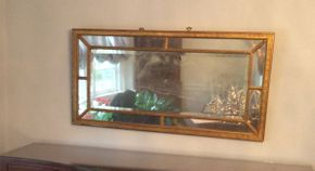 Lot 002 Antique Gold Leaf Beveled Mirror  (Mir49.5x25.5  ITEMS CAN BE PICKED UP IN RVC