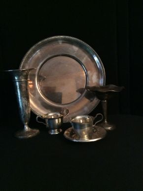 Lot 007 Lot of Sterling Items with Sterling Soldered Platter  ITEMS CAN BE PICKED UP IN RVC