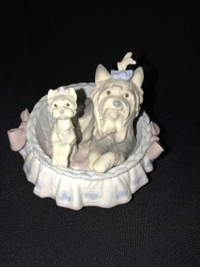 Lot 034 Lladro Our Cozy Home Yorkie Puppy in Bucket 6469 ITEM CAN BE PICKED UP IN GARDEN CITY